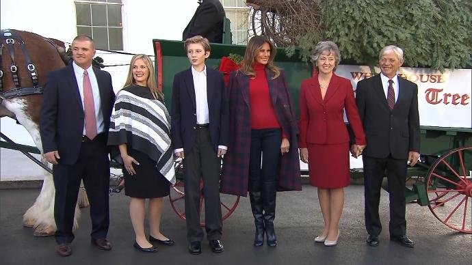 Melania Trump, son Barron receive White House Christmas tree