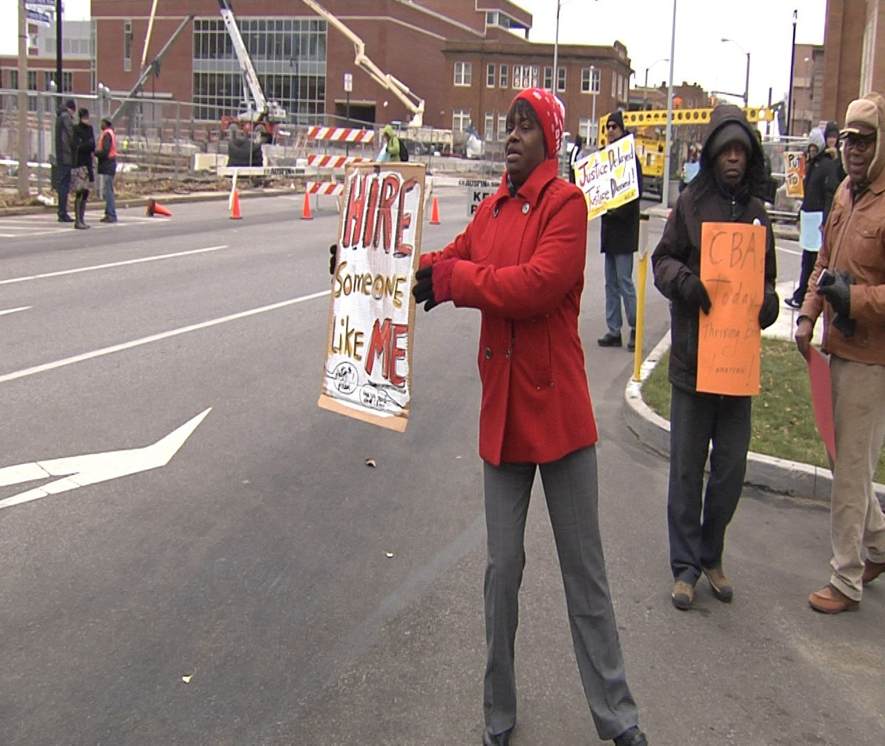 Community Benefits Coalition rally at Erie Insurance construction site, the company responds