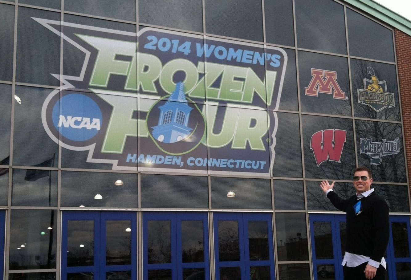 Jay outside the Frozen Four Arena