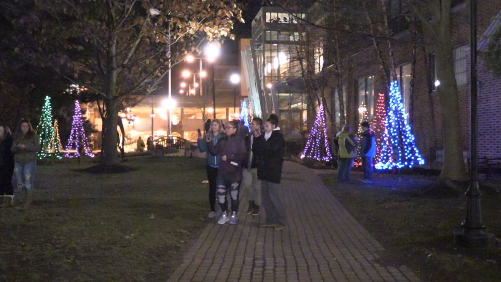 carolers were out for a christmas lighting celebration gannon universitys activities programming board hosted their 16th annual light up ajs way