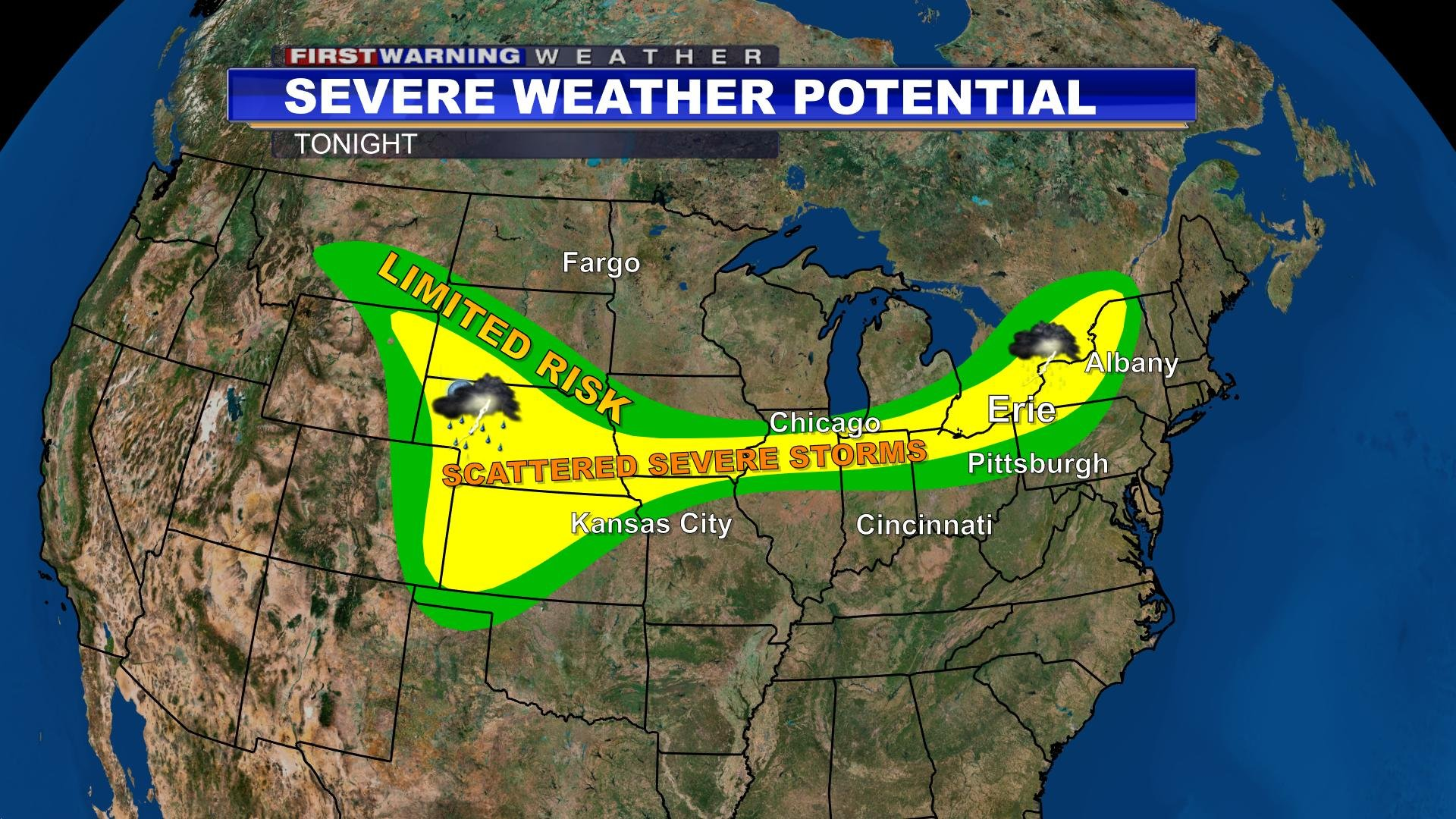 spotty strong storms possible late this evening    cold